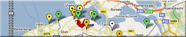 Een uitsnede van de kaart van Zeeuws Vlaanderen met daarop bezienswaardigheden gemarkeerd